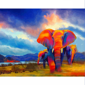 GATYZTORY Paint By Numbers For Adults Children Color Elephant Picture DIY HandPainted Oil Painting Home Decoration Unique Gift
