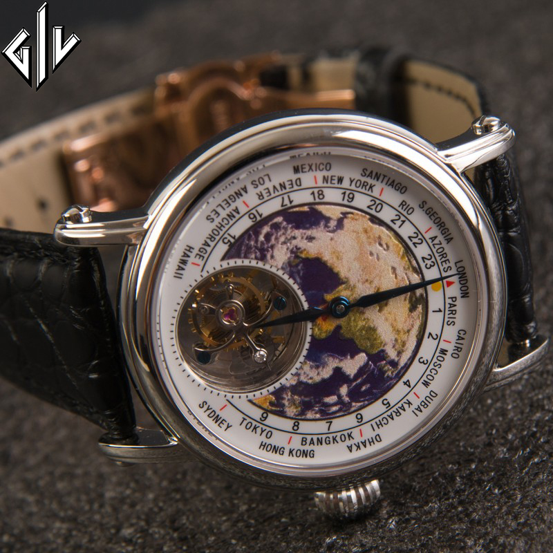 Tourbillon Top Brand Watch Men Mechanical Business Clock Fashion Earth Dial Men Watch Alligator Leather Relogio Male