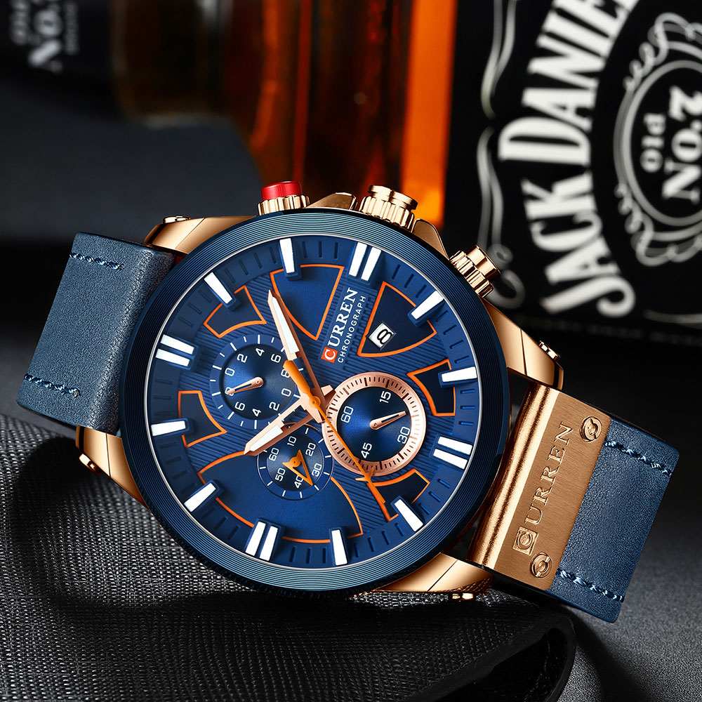 CURREN Watch Chronograph Sport Mens Watches Quartz Clock Leather Male Wristwatch Relogio Masculino Fashion Gift for Men H7ad683f28b6948e89e5eb3d17b8296acB