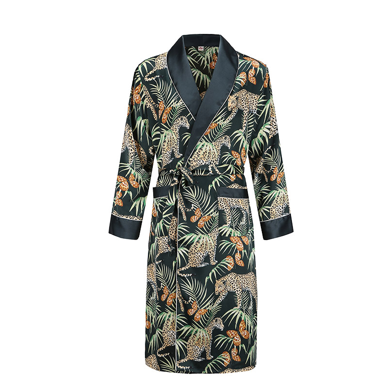 Satin Nightgown Men's Summer Thin Bathrobe Tiger Nightgown Loose Wedding Robe Silky Long Sleeve Sleeprobe Plus Size Home Wear