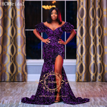 Evening-Dress Short-Sleeves Sequins Glitter Mermaid Graduation Party Purple Black Off-The-Shoulder