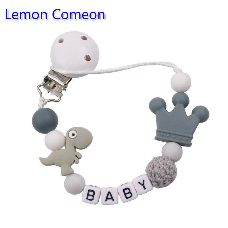Lemon Comeon Personalized DIY Baby's Name Handmade Pacifier Clips Holder Dinosaur Silicone Beads Baby Teether Teething Chain