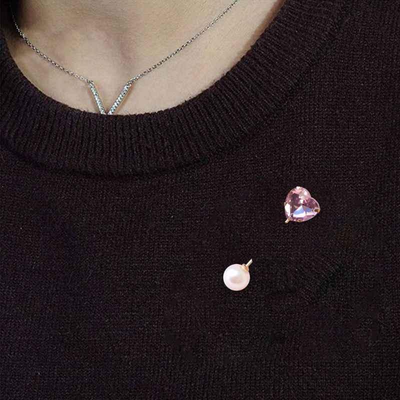 6 Pcs/set Pesona Wanita Anti-Light Double-Headed Mutiara Kancing Sintetis Batu Permata Kristal Wanita Bros Cardigan Syal Pin