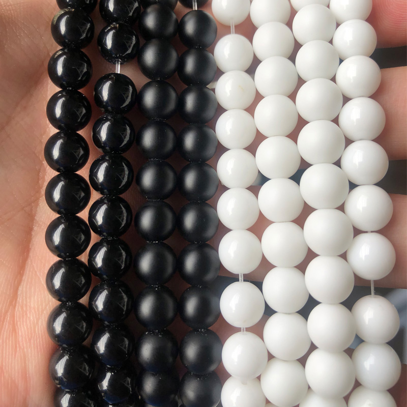 Natural Stone Black White Dull Polish Matte Onyx Agates Smooth Round Beads For Jewelry Making DIY Bracelet 4/6/8/10/12mm 15