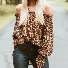 Womens Loose Sexy Off Shoulder Long Sleeve Top t shirt Leopard print(China)