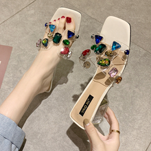Fashion Bling Rhinestone Slippers Women PVC Sequined Outdoor Woman 2019 Heel Female Diamond Beach Sandals
