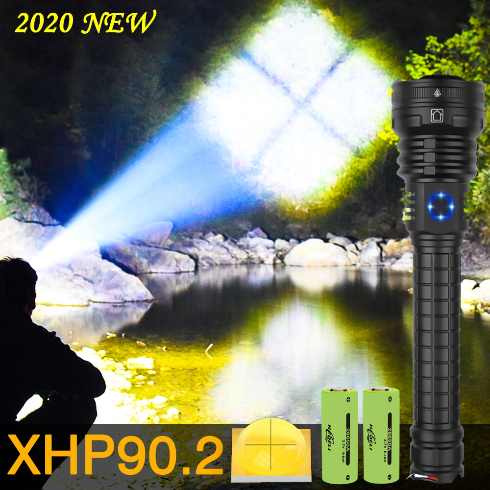 Super Bright Xhp90.2 Most Powerful Led Flashlight Torch Xhp90 Tactical Flashlights Zoom Usb Rechargeable 26650 18650 Flash Light