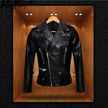 YOLANFAIRY Genuine Leather Jacket Men Real Sheepskin Leather Bomber Jac
