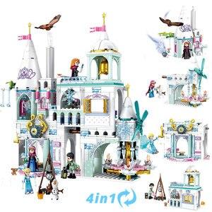Figuras de princesas, Castillo de sueños de nieve 4 en 1 de 725 Uds., bloques de construcción, amigos Elsa y Anna, juguetes para niños