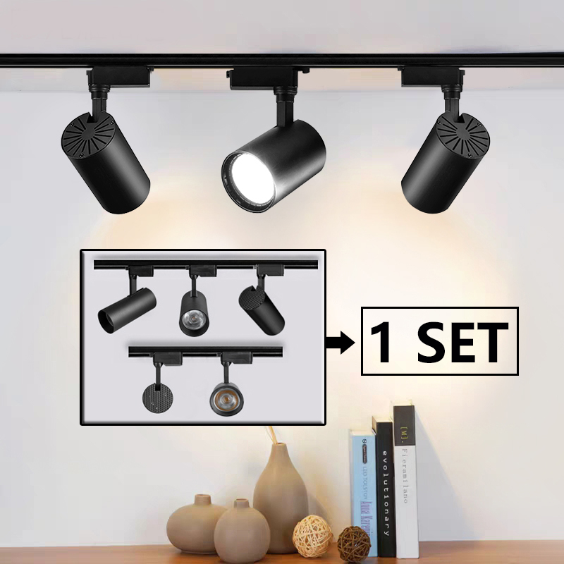 Full Set Led Track Lights 220V COB Track Lamp Lighting Spotlights 12 20 30 40W Spots Lights Fixture for Home Kitchen Store Shop