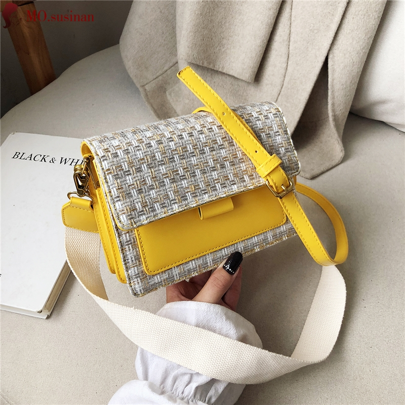 Chain Crossbody Bags For Women 2019 Fashion Ladies Shoulder Bags Female Leather Small Square Bag Wool Weaving Flap Messenger Bag
