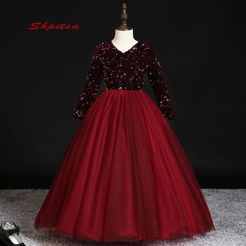 Manches longues belle robes de fille de fleur pour les mariages fête fleur première Communion robes de reconstitution historique pour les filles
