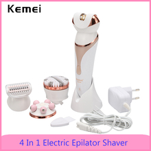 Kemei 4 In 1 Electric Epilator Shaver For Women Rechargeable Hair Remov