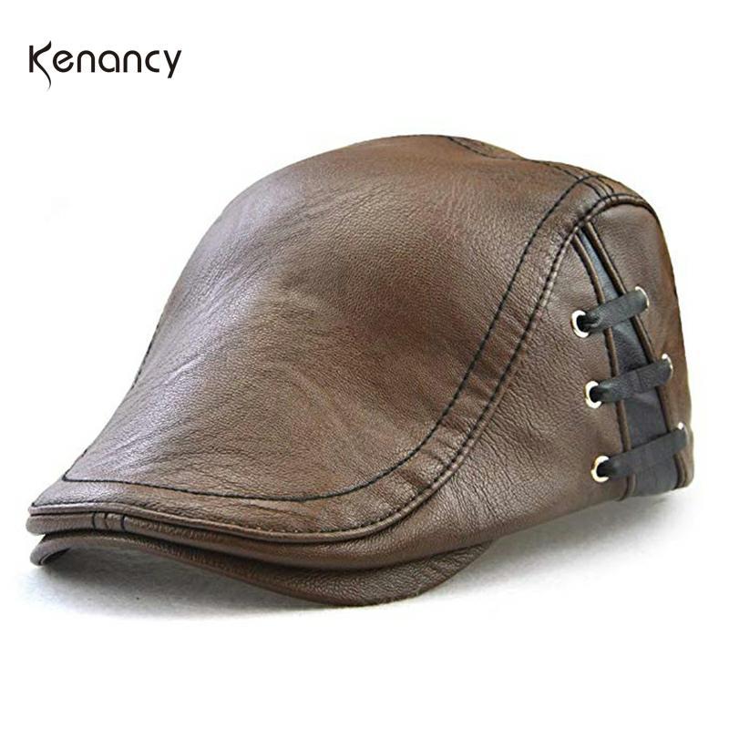 Kenancy Men'S Unsix Classic Newsboy Cap PU Leather Gatsby Ivy Flat Golf Driving Hat Homme Causal Waterproof Headwear