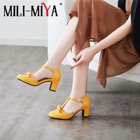 MILI MIYA New Arrival Women Pumps T Strap Round Toe Square Heels Buckle Strap Butterfly Knot Casual Shoes Plus Size 34 46