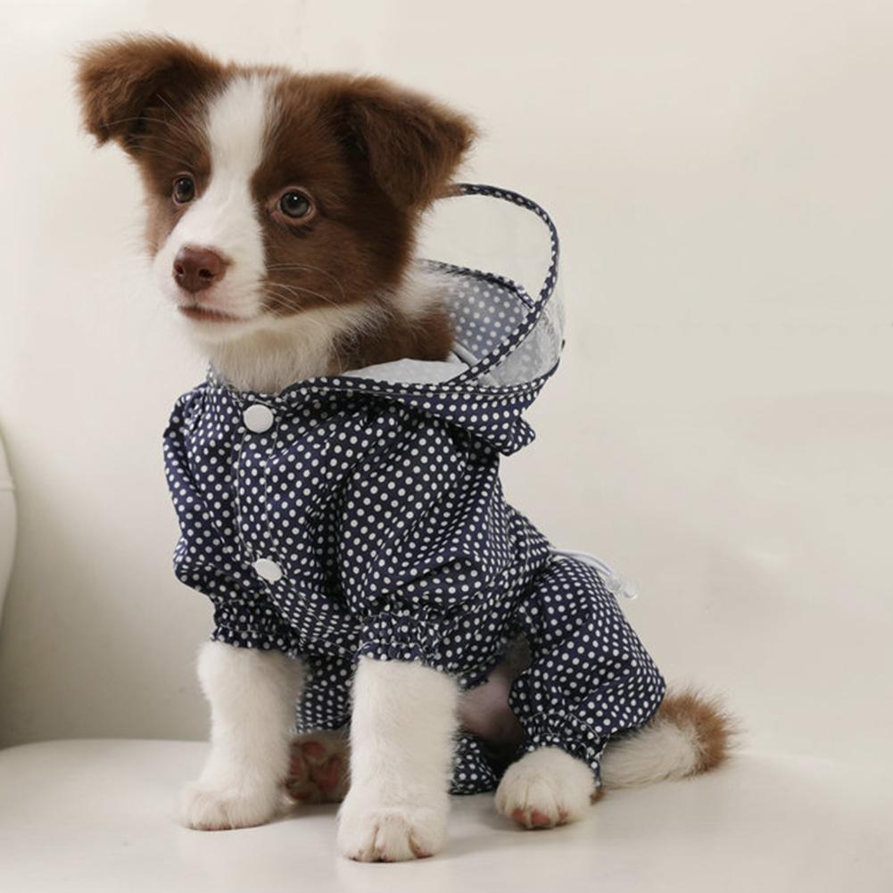 1pc 4 Sizes Polyester Adjustable Pet Dog Raincoat Waterproof Breathable Rainwear Hoodie Jacket Apparel Clothes