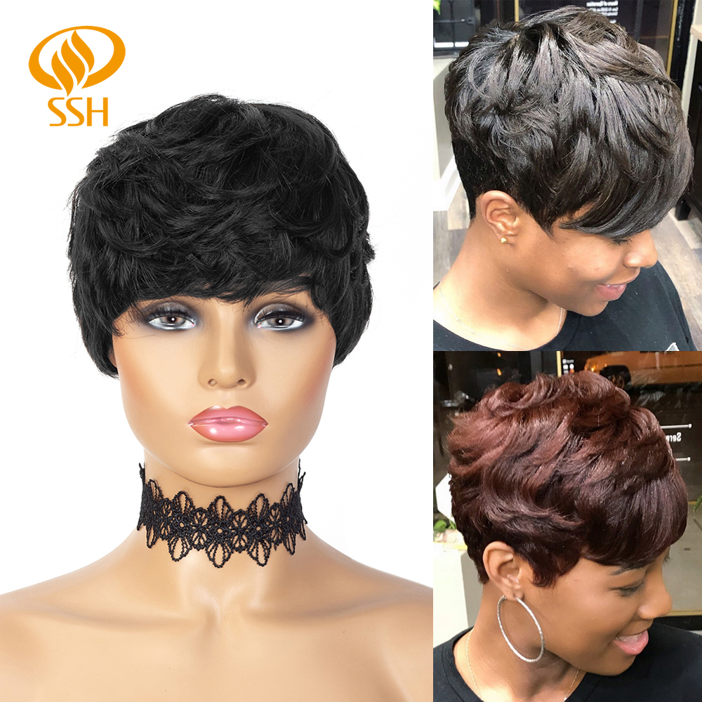 Short Wig Pixie Cut Wigs With Bangs Remy Human Hair Short Glueless Straight Black Layered WigMachine Made For Women Black Color