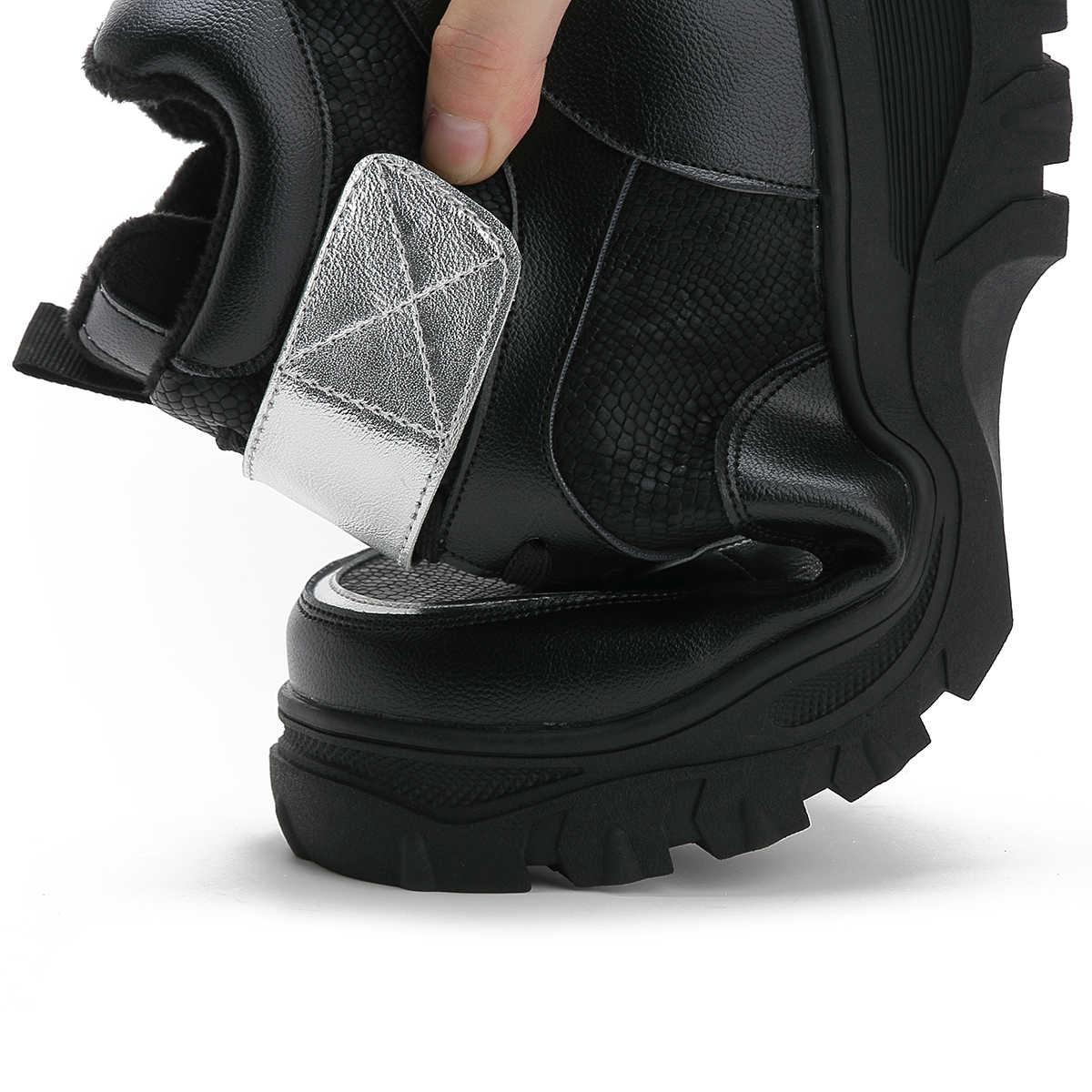 Fujin/женские ботинки; зимние ботинки; Плюшевые ботинки на плоской платформе; женские теплые водонепроницаемые зимние ботинки на молнии с волшебной лентой