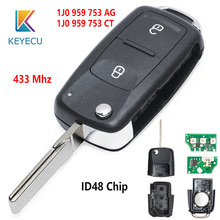 KEYECU 434MHz ID48 Chip FCC: 1J0 959 753 AG/1J0 959 753 CT 2 Taste Remote Key Fob für Volkswagen Golf 4 5 Passat b5 b6 polo