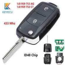 KEYECU 434MHz ID48 Chip FCC: 1J0 959 753 AG/1J0 959 753 CT 2 Tasto Chiave A Distanza Fob per Volkswagen Golf 4 5 Passat b5 b6 polo