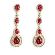 Stylish and elegant create long drop shape earrings trend statement pendant earrings for wedding party gifts pair of stylish faux turquoise crescent shape drop earrings for women
