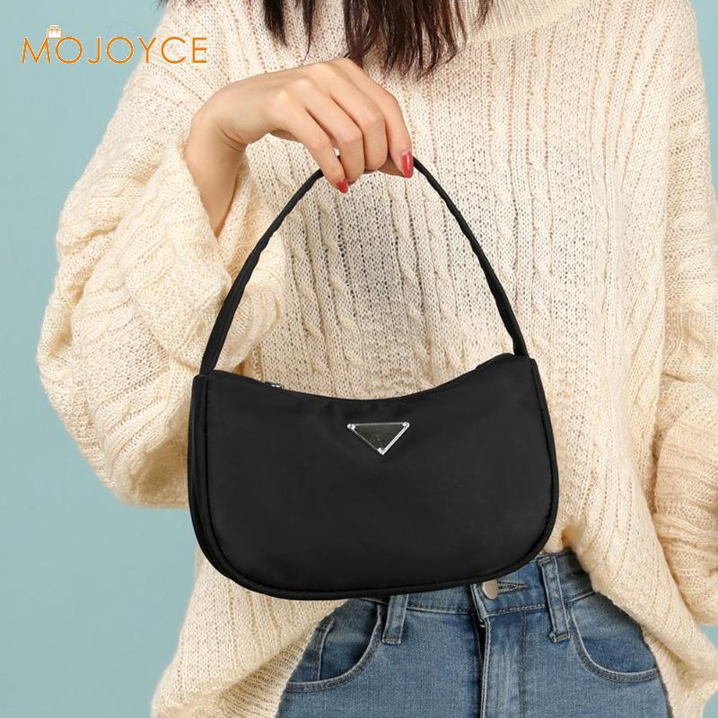 Retro Solid Bag For Women Trendy Vintage Nylon Handbag Female Small Subaxillary Bags Pure Color Totes Dropshipping