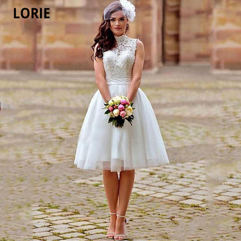 LORIE Elegant Lace Appliques Short Wedding Dresses Plus Size Open Back High-Neck Bridal Gowns Beach Boho Wedding Party Gown 2020 lorie champagne tulle wedding dresses beach boho lace appliques bridal gown o neck illusion short sleeve vintage wedding gowns