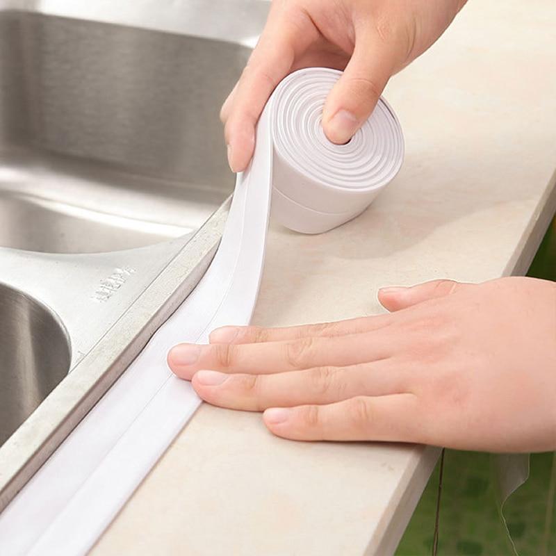 3.2m*2.2cm Self Adhesive Tape Waterproof Anti Moisture Bathroom Mosaic Wall Sticker Kitchen Stickers Sink Door Window Slit Strip