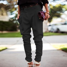 2019 Fashion Summer Autumn Women Pants Simple Solid Color Long Harem Comfy Elastic High Waist Casual Pockets Trousers
