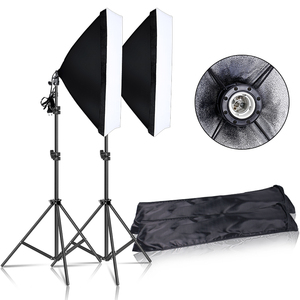 Image 1 - Kit déclairage de Softbox continu de photographie 50x70CM E27 Socket équipement de Studio Photo professionnel avec 2 pièces trépied support de lumière