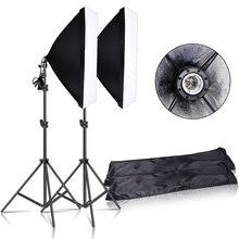 Kit de iluminação softbox, contínua, 50x70cm e27, soquete profissional, equipamento de estúdio fotográfico com 2 peças, tripé, luz suporte