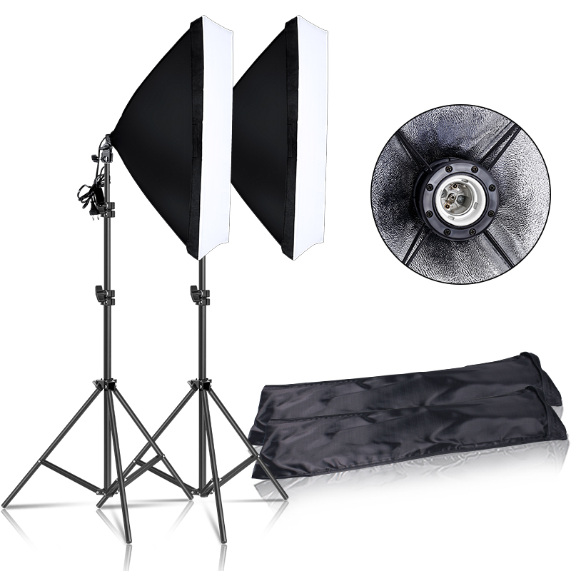 Photography Continuous Softbox Lighting Kit 50x70CM E27 Socket Professional Photo Studio Equipment with 2 PCS Tripod Light Stand