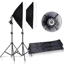 Photography Continuous Softbox Lighting Kit 50x70CM E27 Socket Professional Photo Studio Equipment with 2 PCS Tripod Light Stand