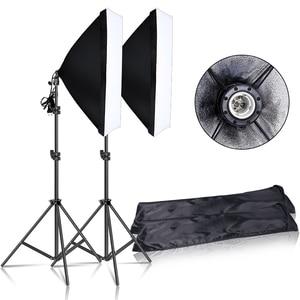 Image 1 - Photography Continuous Softbox Lighting Kit 50x70CM E27 Socket Professional Photo Studio Equipment with 2 PCS Tripod Light Stand