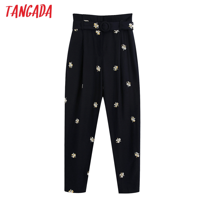 Tangada Fashion Women Embroidery Suit Pants Trousers With Slash Pockets Buttons Office Lady Pants Pantalon BE682