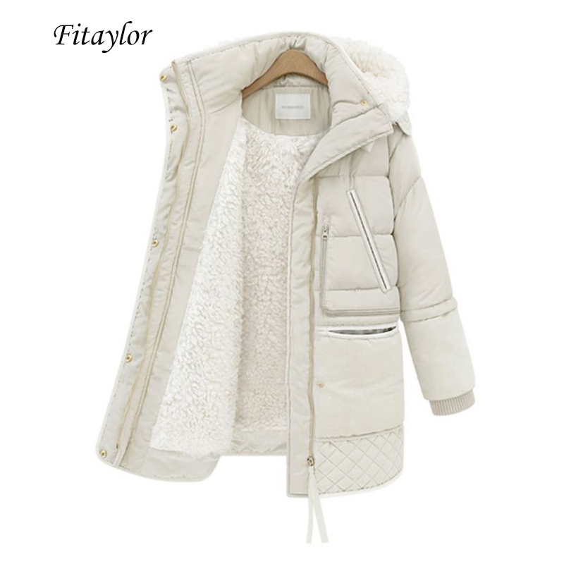 Fitaylor Winter Women's Jackets Plus Size Cotton Coat Padded Medium Long Slim Hooded   Parkas   Female Warm Snow Casual Outerwear