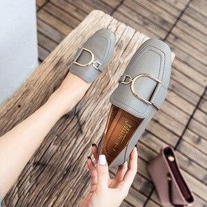Image 3 - מקסי גודל 41 42 נעלי אישה פרדות מוקסינים נקבה להחליק על מתכת אבזם אפונת ופרס עור מפוצל אמא אחות קריירה משרד דירות