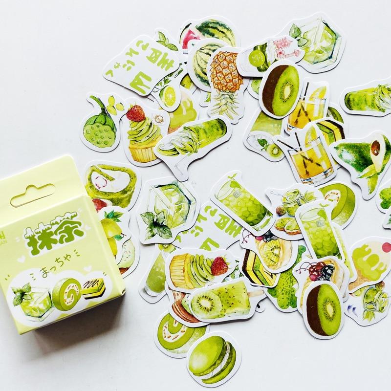 50 Pcs/Pack Cute Matcha Dessert Green Fruit Paper Stickers DIY Decorative Sealing Paste Stick Label Stationery Kids Gift