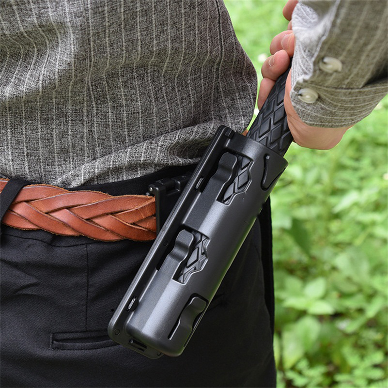 EDC Tool Universal 360 Degree Rotation Gas Baton Case Holster Self Defense Safety Outdoor Survial Kit Black Holder Scabbard