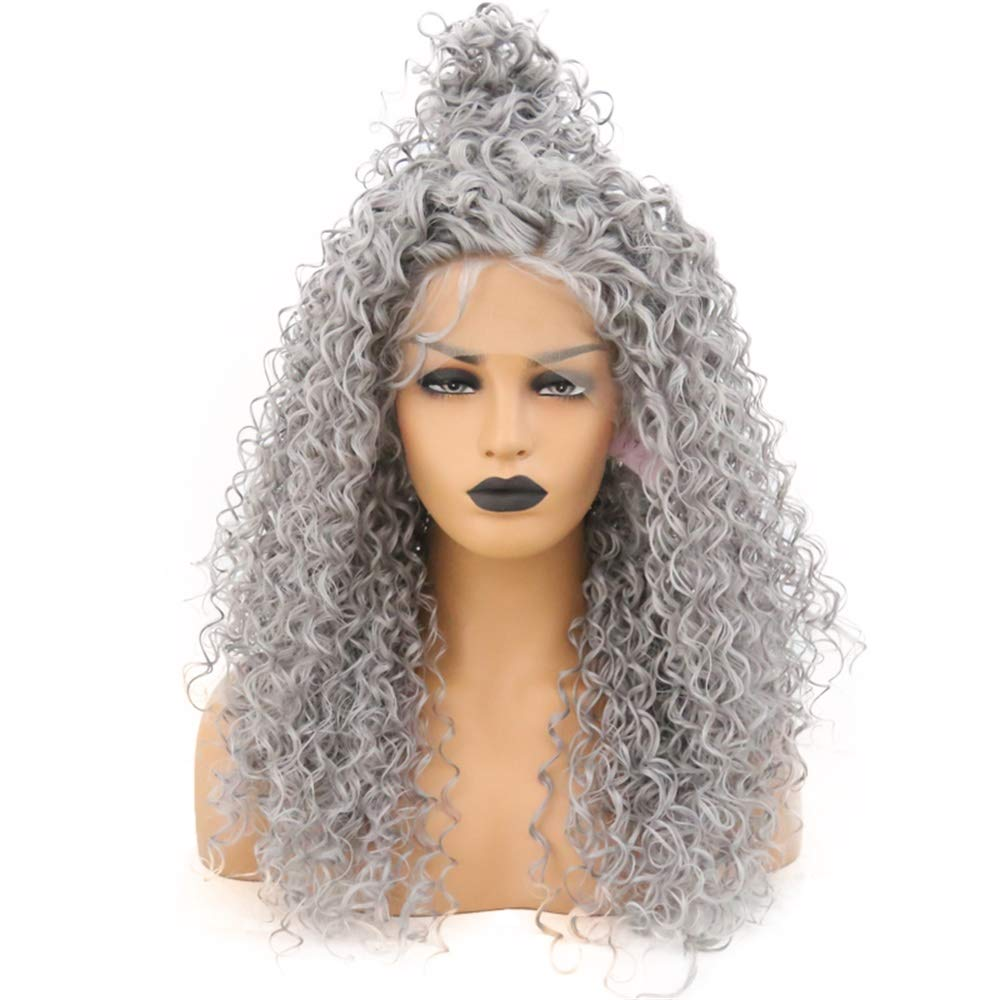 RONGDUOYI Gray Hair Heat Resistant Fiber Lace Front Wigs For Women Baby Hair Kinky Curly Long Grey Synthetic Wig With Free Part