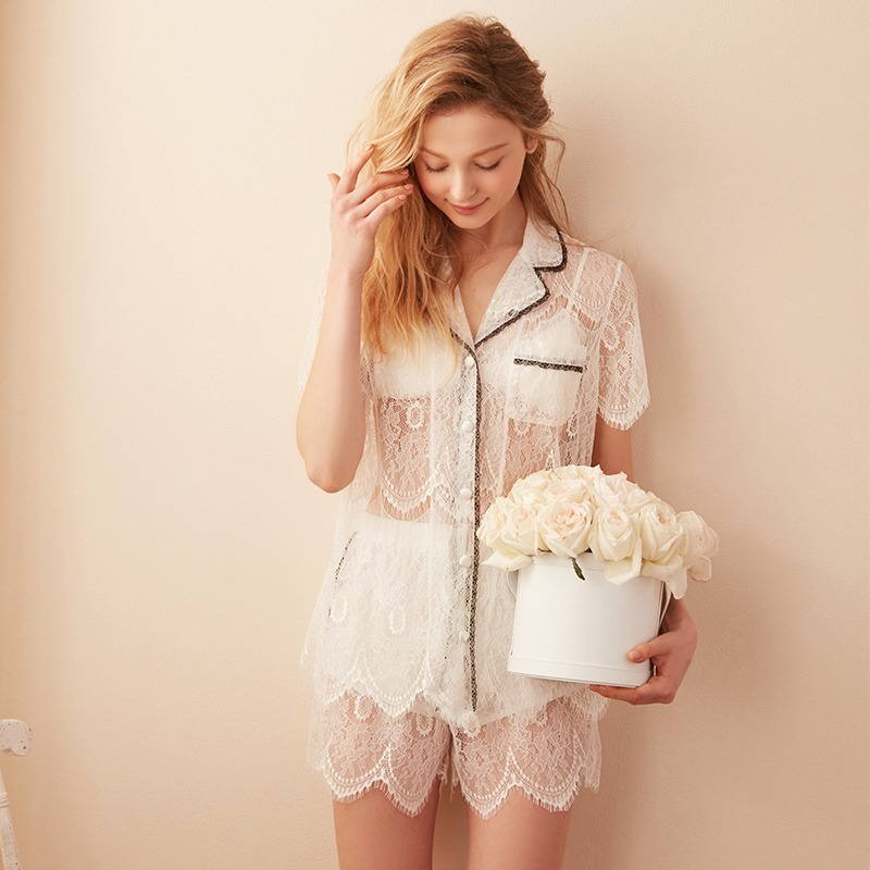 QWEEK Lace Pajamas Sexy Lingerie Ladies Pyjamas White Pijamas Mujer Summer Sleepwear Princess 2 Piece Set Women Nightie 2020