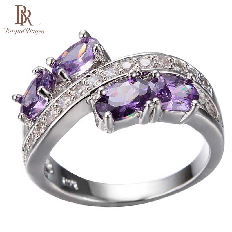 Bague Ringen 100% 925 Sterling Silver Finger Ring Natural Amethyst Wedding Engagement Rings For Women Fine Jewelry Size 6-10(China)