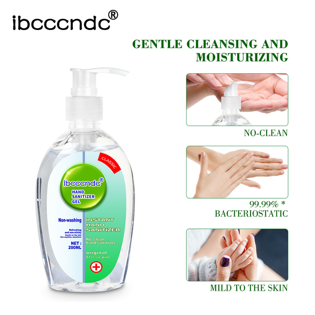 200ml Anti Bacterial Disposable Hand Sanitizer Hand Disinfection Gel Quick-Dry Handgel 75% Ethanol for Kids Adults Home Bathroom 2