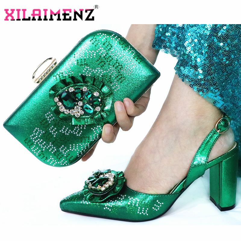 Image 3 - Mature Special Design Onion Color Shoes And Bag To Match Set  Nigerian High Heels Party Shoes And Bag Set For Wedding DressWomens  Pumps