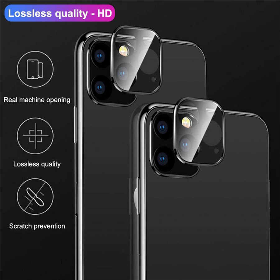 Marco de Metal + cubierta trasera de cristal templado anillo de lente de cámara para iPhone 11 Pro Max Protector de pantalla funda de anillo de protección trasera