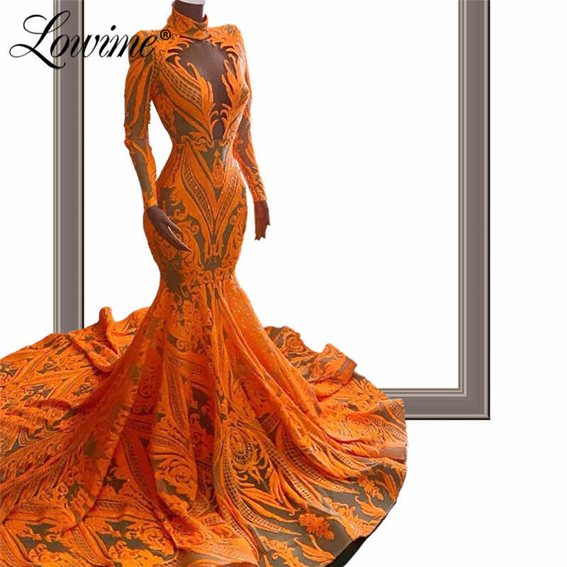 Robe Soiree Glitter Schlank Mermaid Abendkleider 2020 Couture Kaftan Mariage Lange Ärmeln High Neck Arabisch Dubai Party Kleider Neue