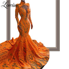 Robe Soiree Glitter Slim Mermaid Evening Dresses 2020 Couture Caftan Mariage Long Sleeves High Neck Arabic Dubai Party Gowns New