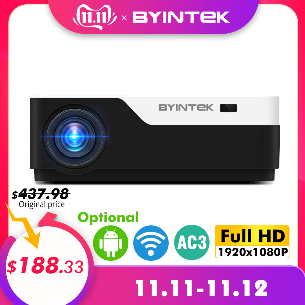 BYINTEK MOON K11 Smart Android Wifi 200inch 1920x1080 1080P FULL HD LED Video Projector with HD USB For Home Theater Cinema-in LCD Projectors from Consumer Electronics