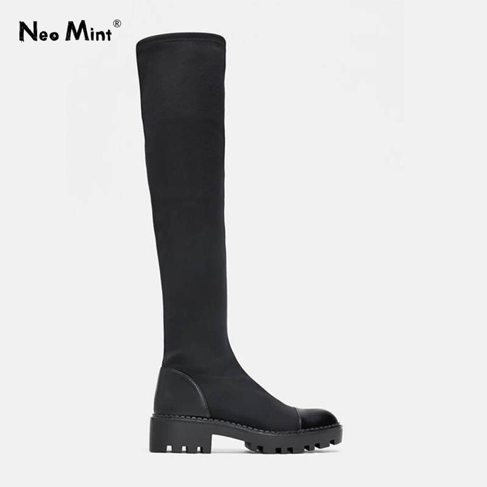 2019 Slim Stretch Lycra genou bottes hautes plate-forme bottes d'hiver femmes bottes longues chaussures d'hiver femmes chaussette bottes sur le genou bottes