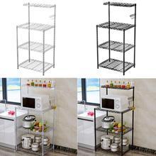 Stainless Steel Adjustable Multifunctional Microwave Oven Shelf Rack Standing Type Double Bathroom Kitchen Storage Holders
